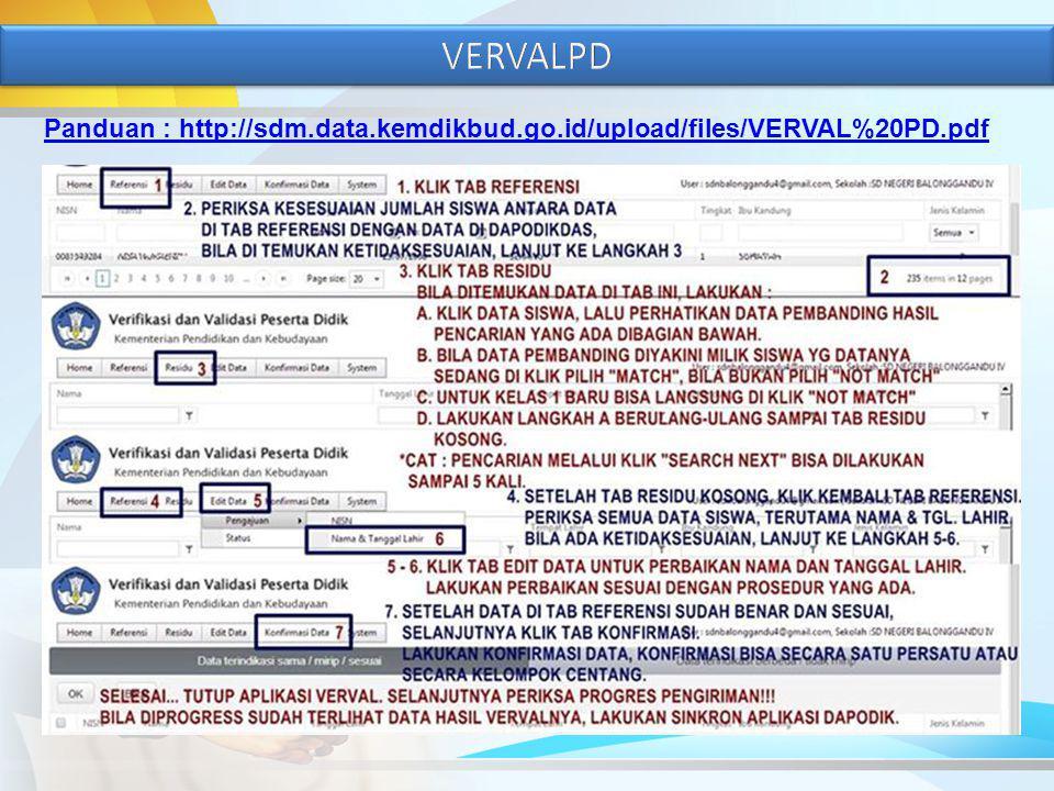 VERVALPD Panduan : http://sdm.data.kemdikbud.go.id/upload/files/VERVAL%20PD.pdf