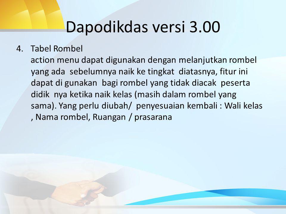 Dapodikdas versi 3.00 Tabel Rombel