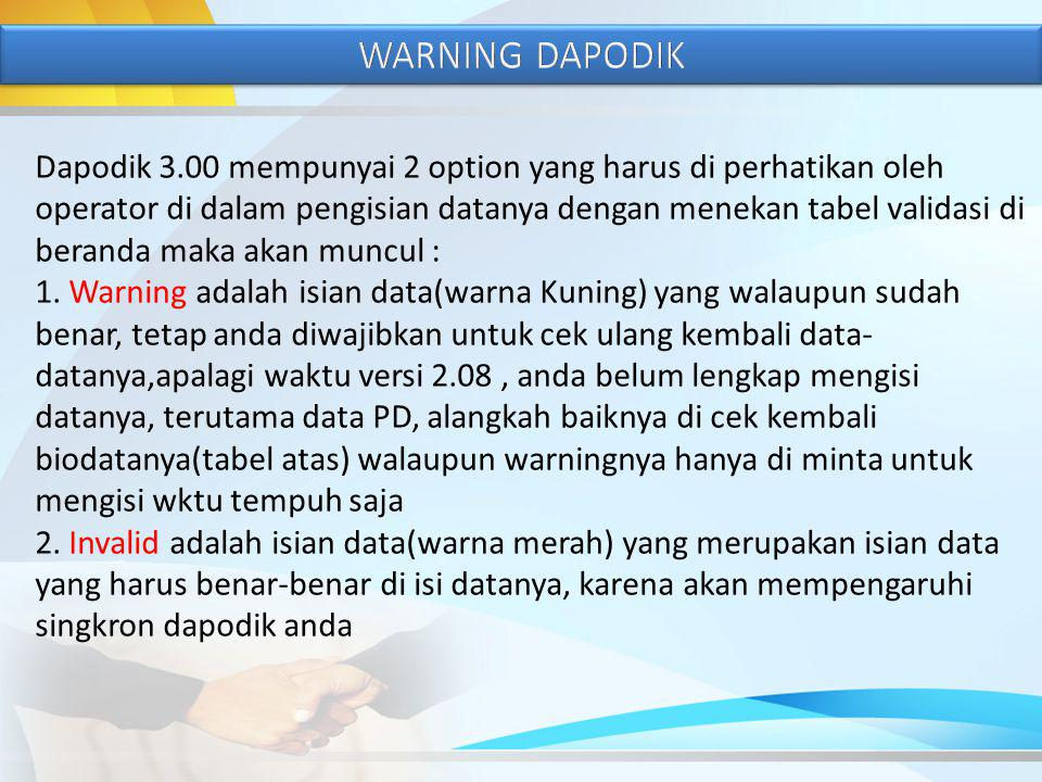 WARNING DAPODIK