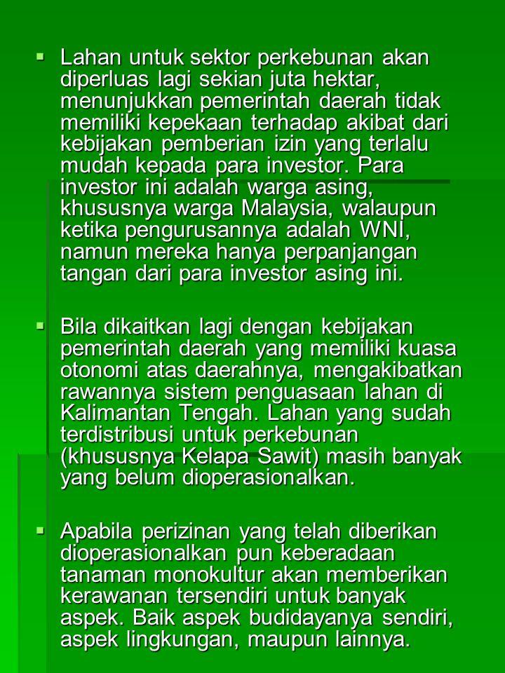 Lahan untuk sektor perkebunan akan diperluas lagi sekian juta hektar, menunjukkan pemerintah daerah tidak memiliki kepekaan terhadap akibat dari kebijakan pemberian izin yang terlalu mudah kepada para investor. Para investor ini adalah warga asing, khususnya warga Malaysia, walaupun ketika pengurusannya adalah WNI, namun mereka hanya perpanjangan tangan dari para investor asing ini.