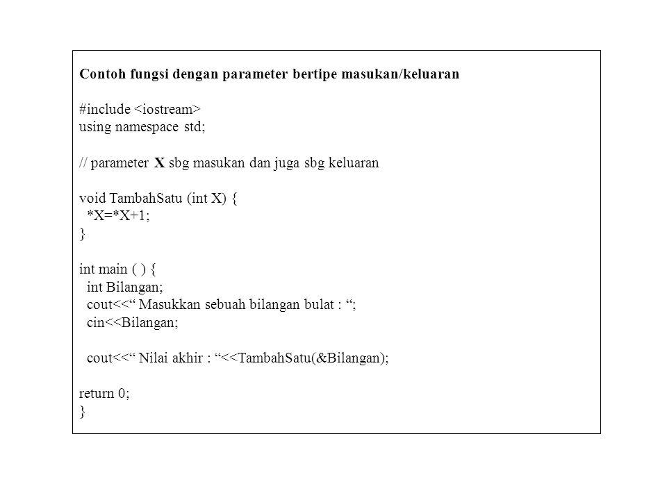 Contoh fungsi dengan parameter bertipe masukan/keluaran
