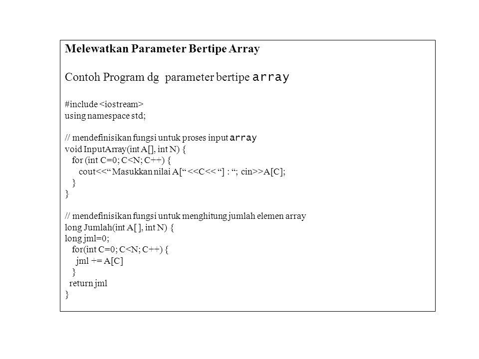 Melewatkan Parameter Bertipe Array