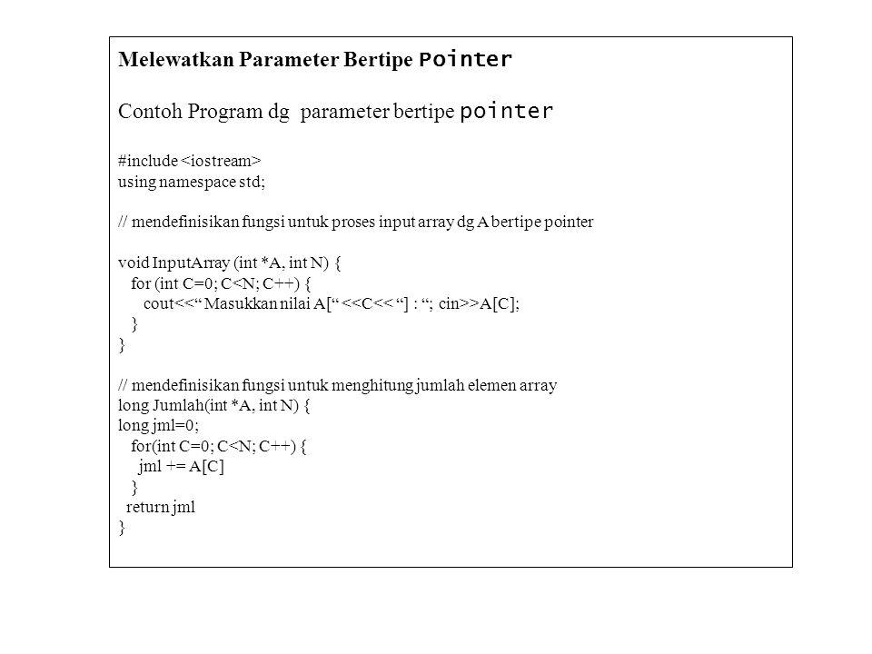 Melewatkan Parameter Bertipe Pointer