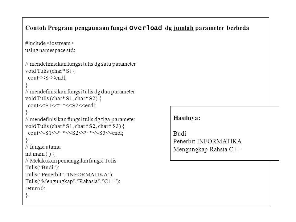 Contoh Program penggunaan fungsi Overload dg jumlah parameter berbeda