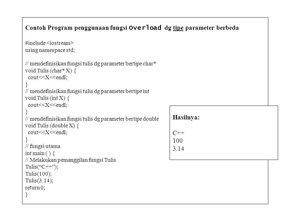 Contoh Program penggunaan fungsi Overload dg tipe parameter berbeda