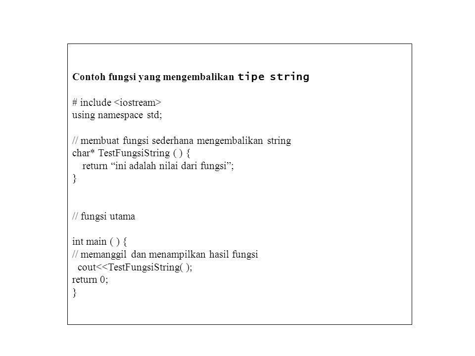 Contoh fungsi yang mengembalikan tipe string