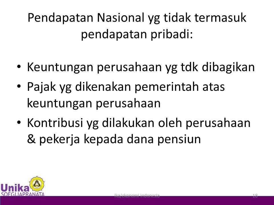Pendapatan Nasional yg tidak termasuk pendapatan pribadi:
