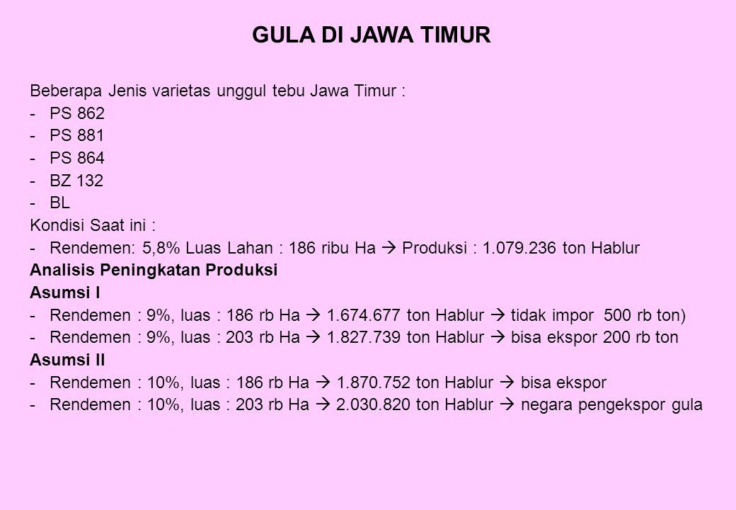GULA DI JAWA TIMUR Beberapa Jenis varietas unggul tebu Jawa Timur :