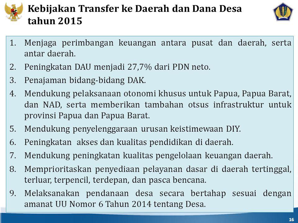 Kebijakan Transfer ke Daerah dan Dana Desa tahun 2015