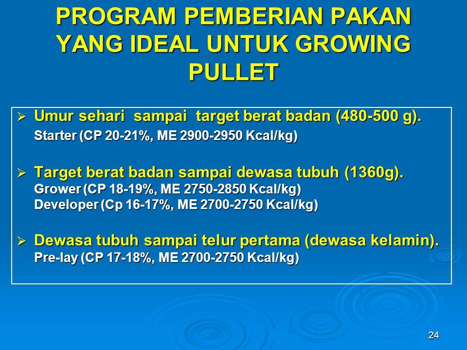 PROGRAM PEMBERIAN PAKAN YANG IDEAL UNTUK GROWING PULLET