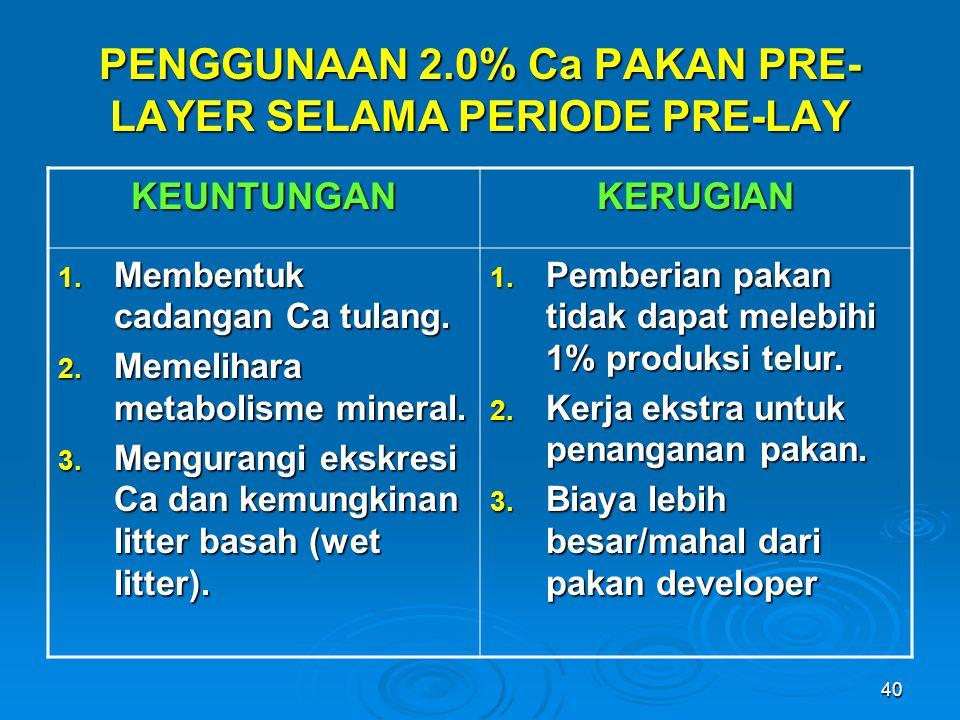 PENGGUNAAN 2.0% Ca PAKAN PRE-LAYER SELAMA PERIODE PRE-LAY