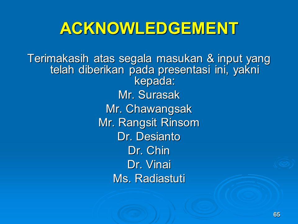 ACKNOWLEDGEMENT Terimakasih atas segala masukan & input yang telah diberikan pada presentasi ini, yakni kepada: