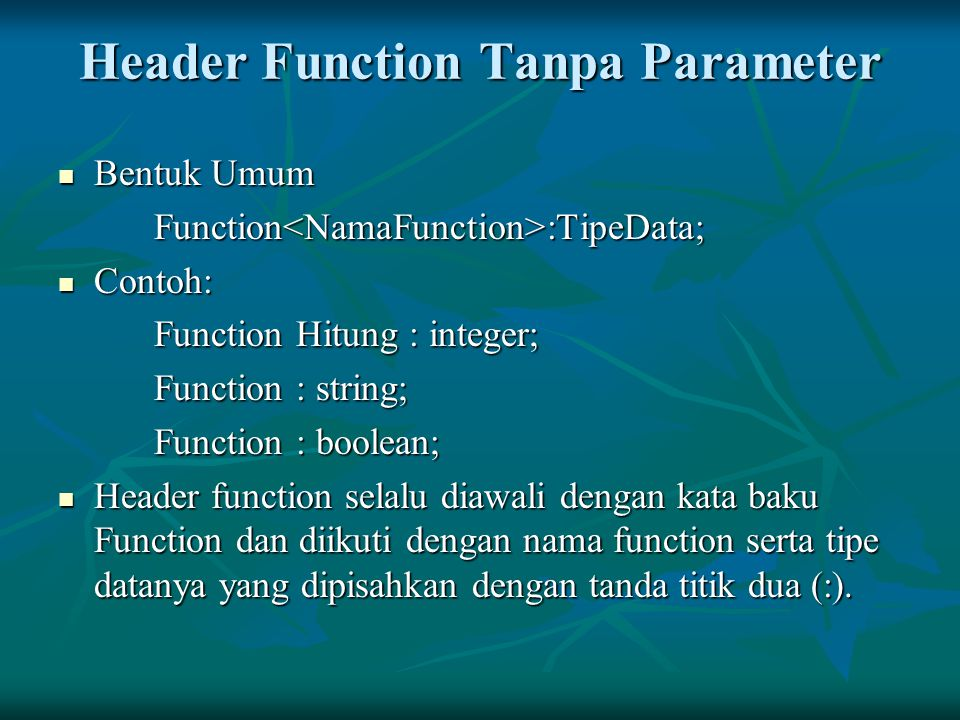 Header Function Tanpa Parameter
