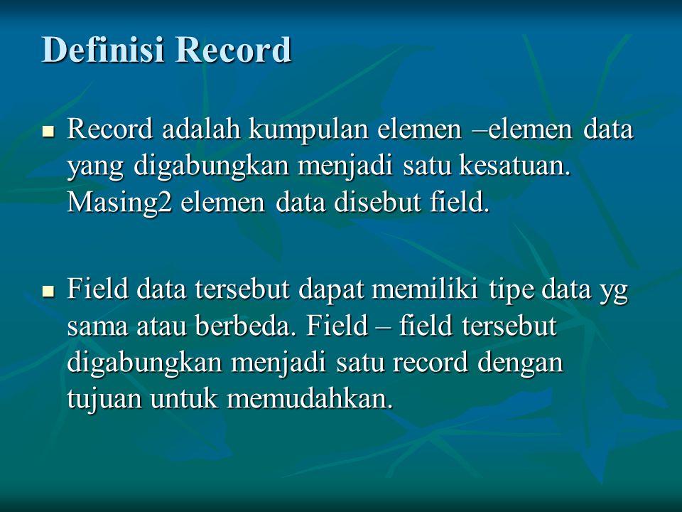 Definisi Record Record adalah kumpulan elemen –elemen data yang digabungkan menjadi satu kesatuan. Masing2 elemen data disebut field.