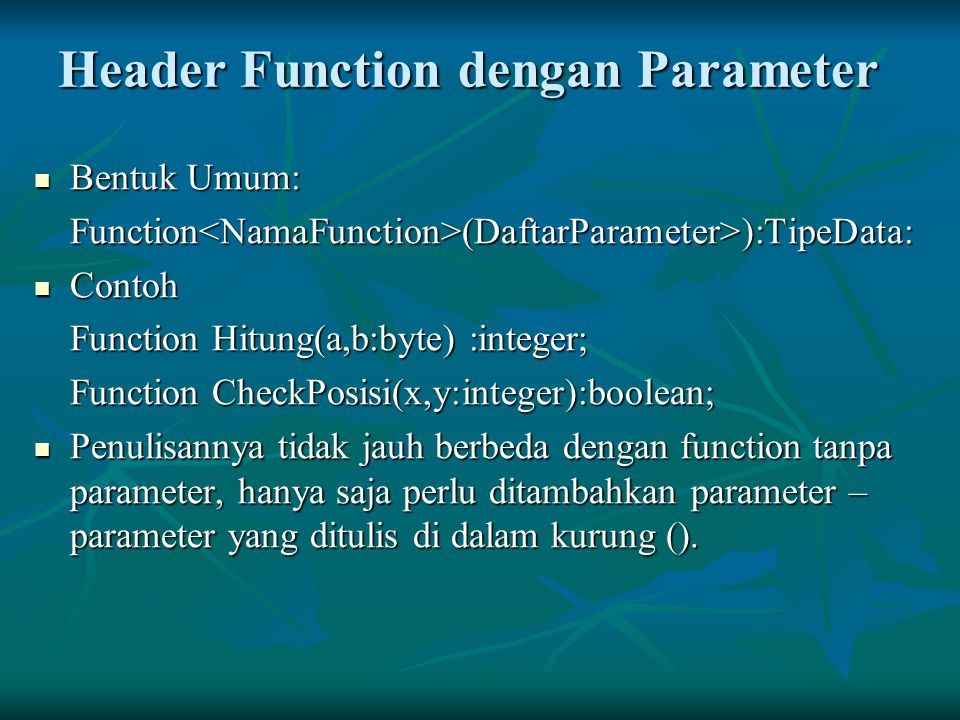 Header Function dengan Parameter