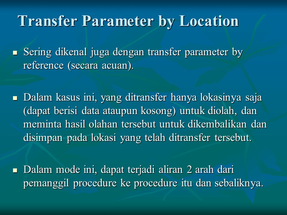 Transfer Parameter by Location
