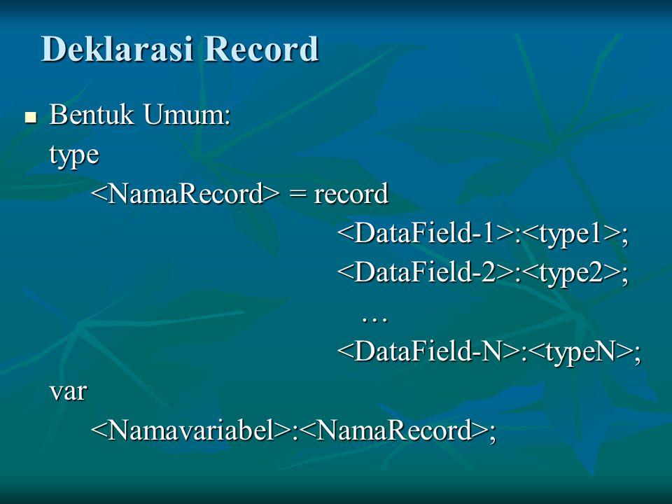 Deklarasi Record Bentuk Umum: type <NamaRecord> = record