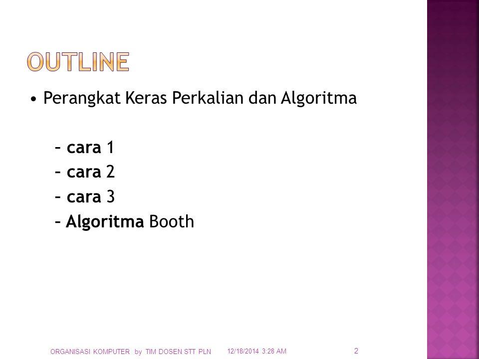 Outline • Perangkat Keras Perkalian dan Algoritma – cara 1 – cara 2 – cara 3 – Algoritma Booth ORGANISASI KOMPUTER by TIM DOSEN STT PLN.