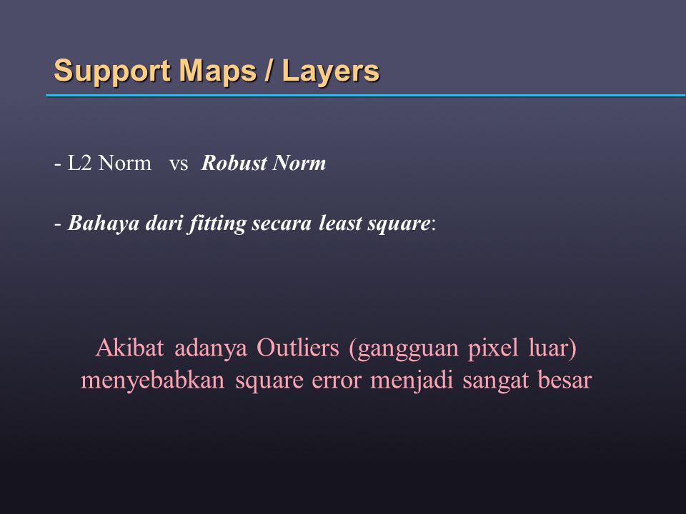 Support Maps / Layers L2 Norm vs Robust Norm. Bahaya dari fitting secara least square: