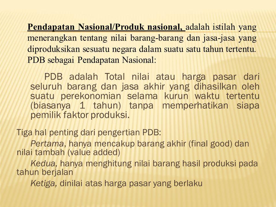 Pendapatan Nasional/Produk nasional, adalah istilah yang menerangkan tentang nilai barang-barang dan jasa-jasa yang diproduksikan sesuatu negara dalam suatu satu tahun tertentu. PDB sebagai Pendapatan Nasional: