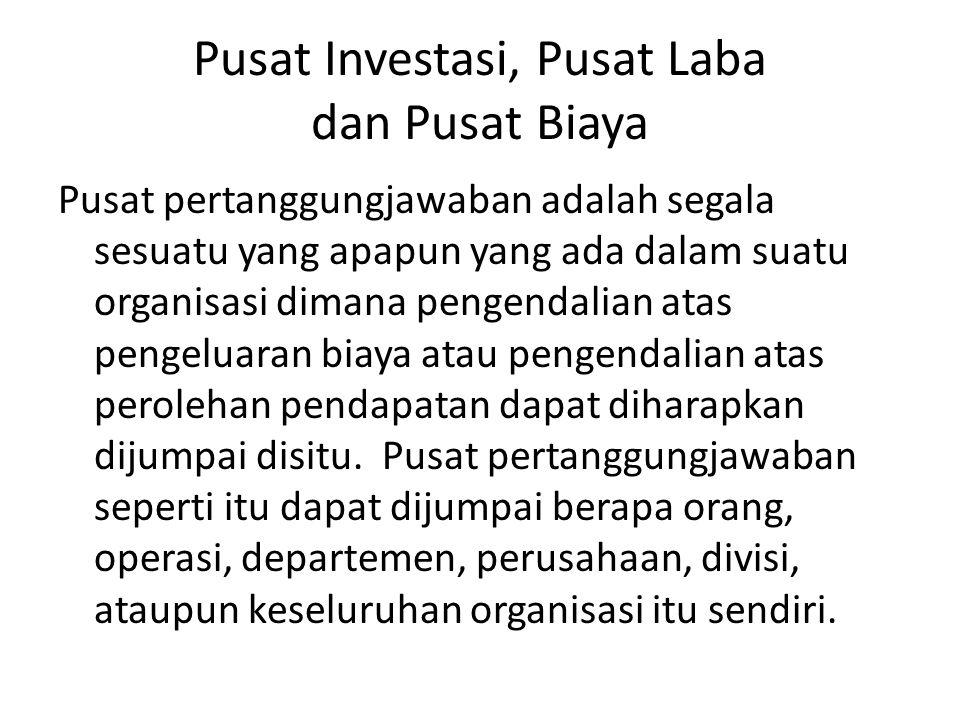 Pusat Investasi, Pusat Laba dan Pusat Biaya