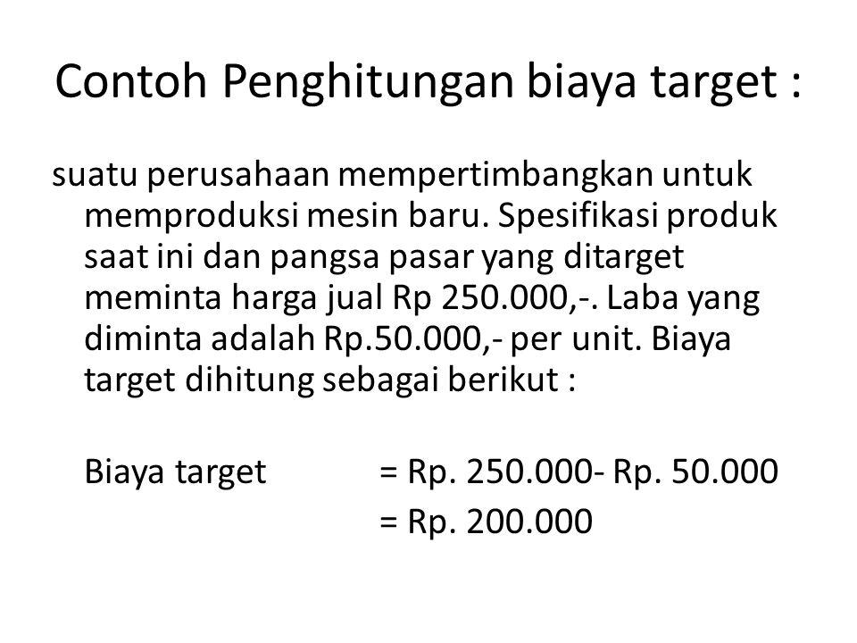 Contoh Penghitungan biaya target :