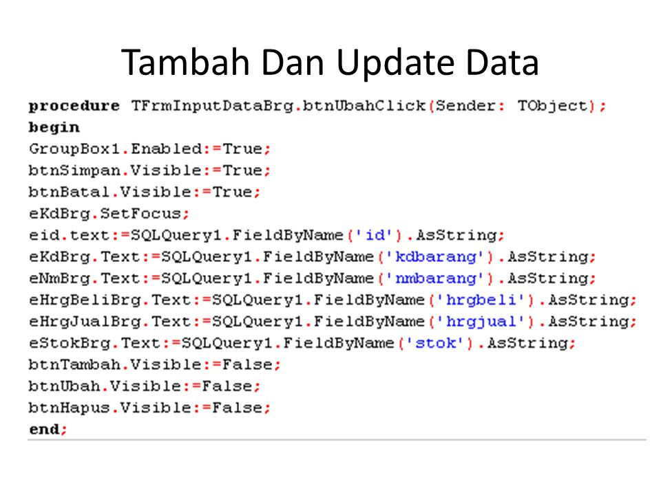 Tambah Dan Update Data