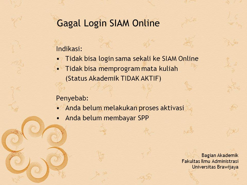 Gagal Login SIAM Online