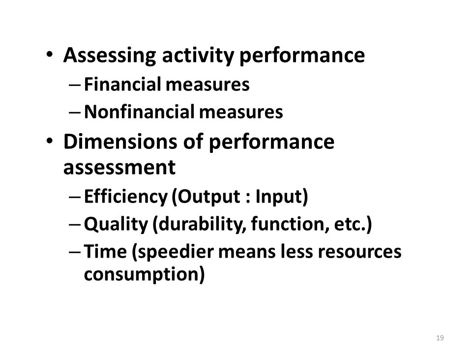 Assessing activity performance