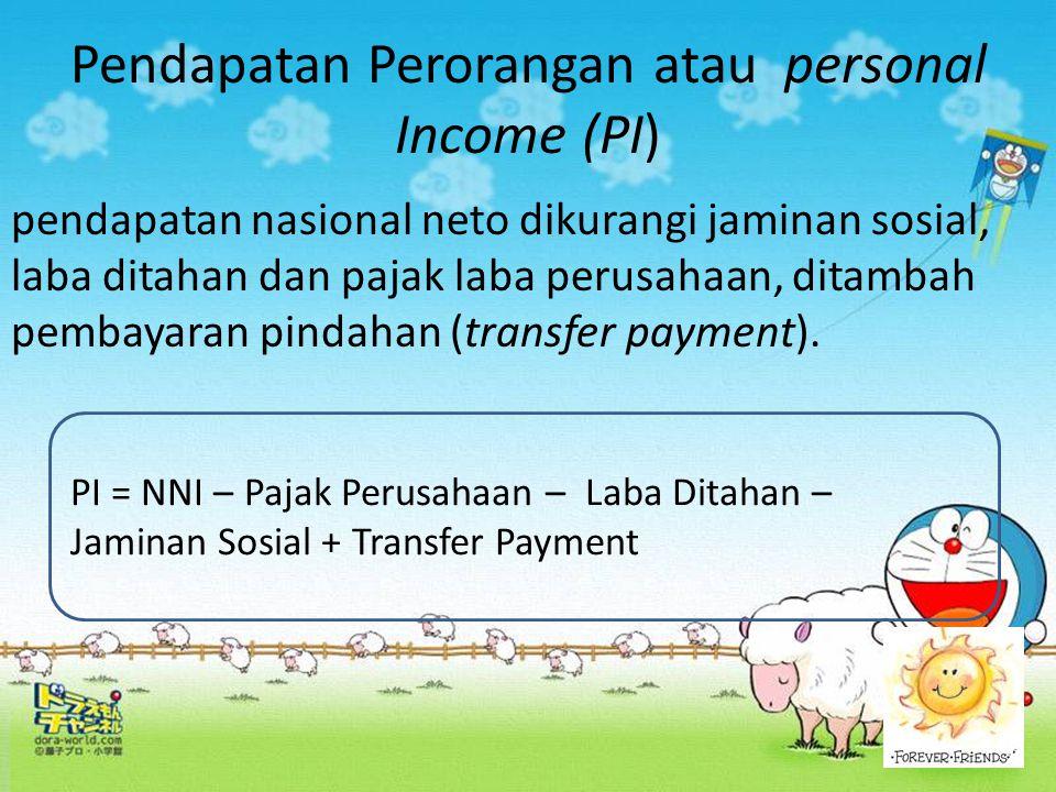 Pendapatan Perorangan atau personal Income (PI)