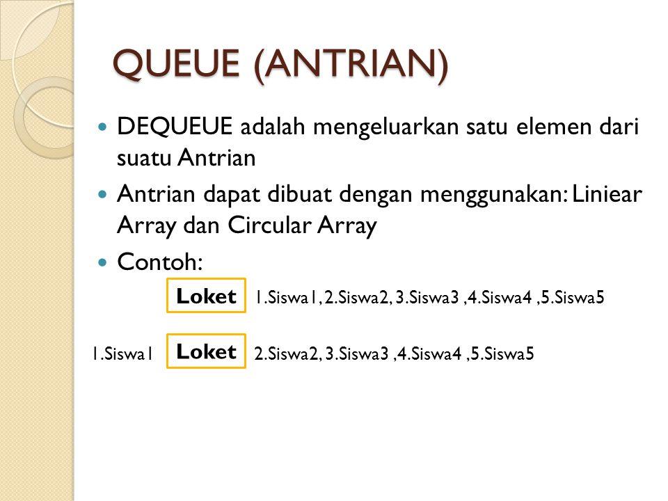 QUEUE (ANTRIAN) DEQUEUE adalah mengeluarkan satu elemen dari suatu Antrian.
