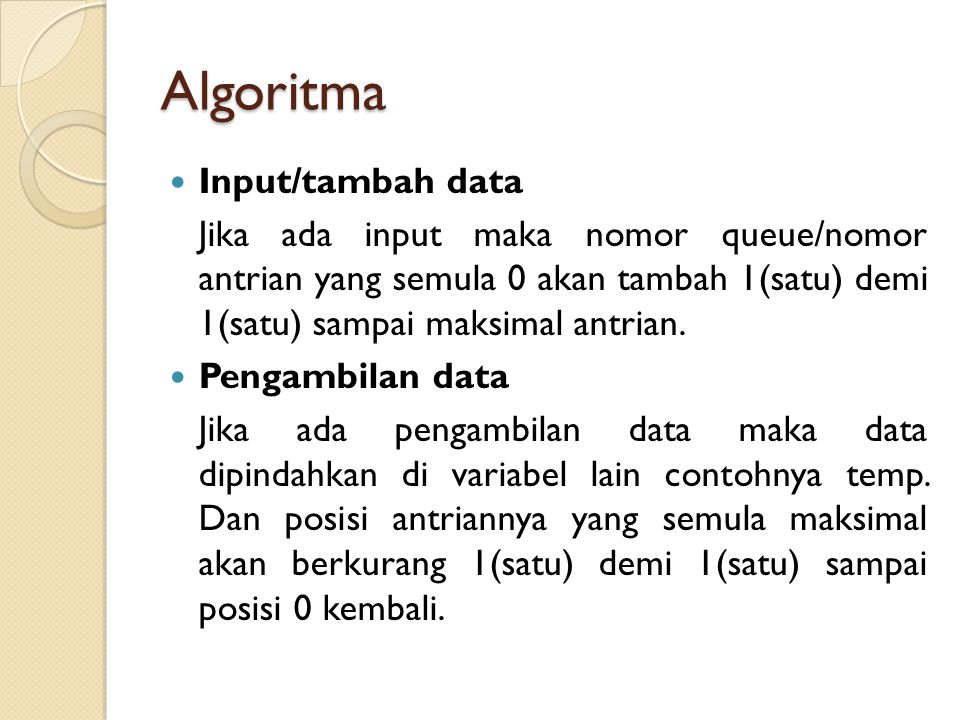 Algoritma Input/tambah data