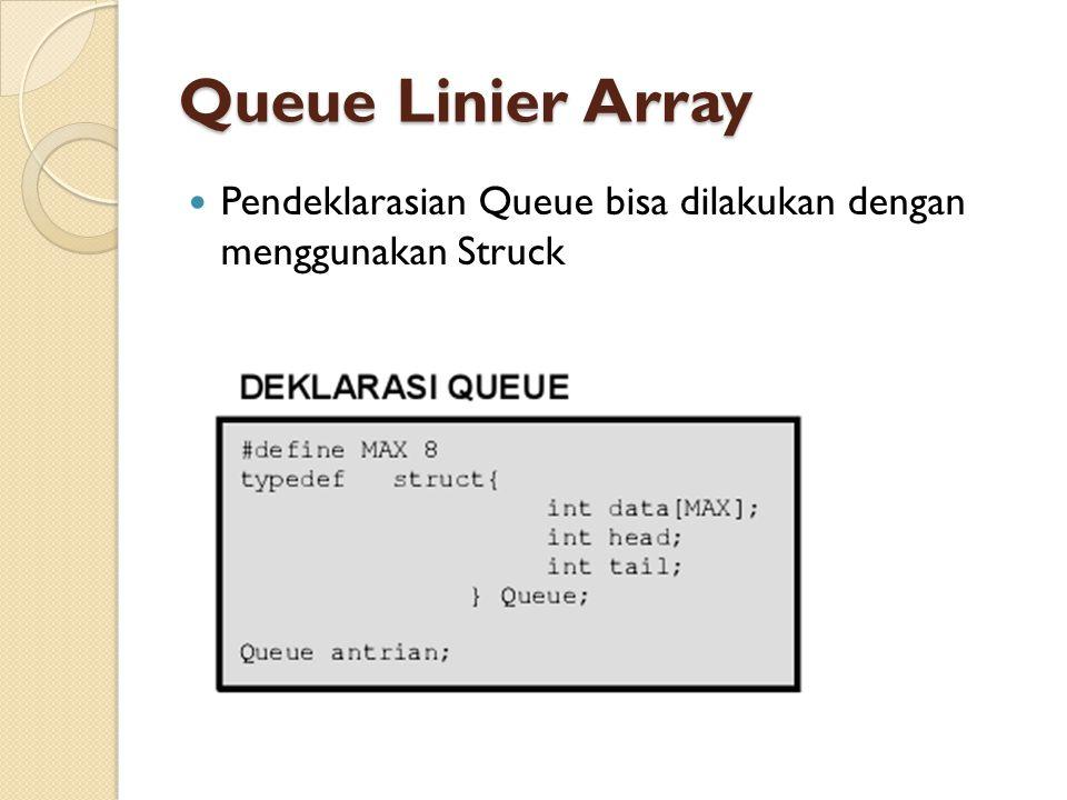 Queue Linier Array Pendeklarasian Queue bisa dilakukan dengan menggunakan Struck