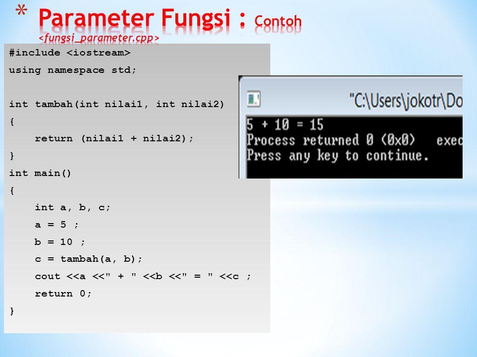 Parameter Fungsi : Contoh <fungsi_parameter.cpp>