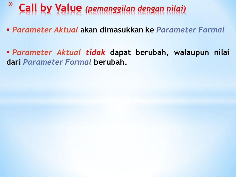 Call by Value (pemanggilan dengan nilai)