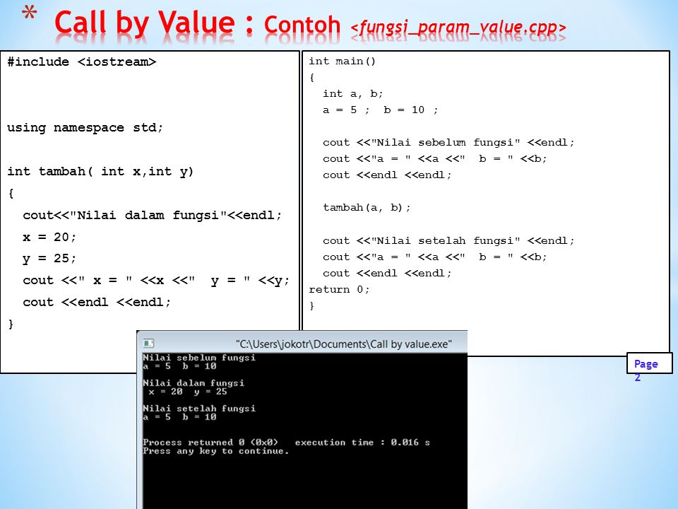Call by Value : Contoh <fungsi_param_value.cpp>