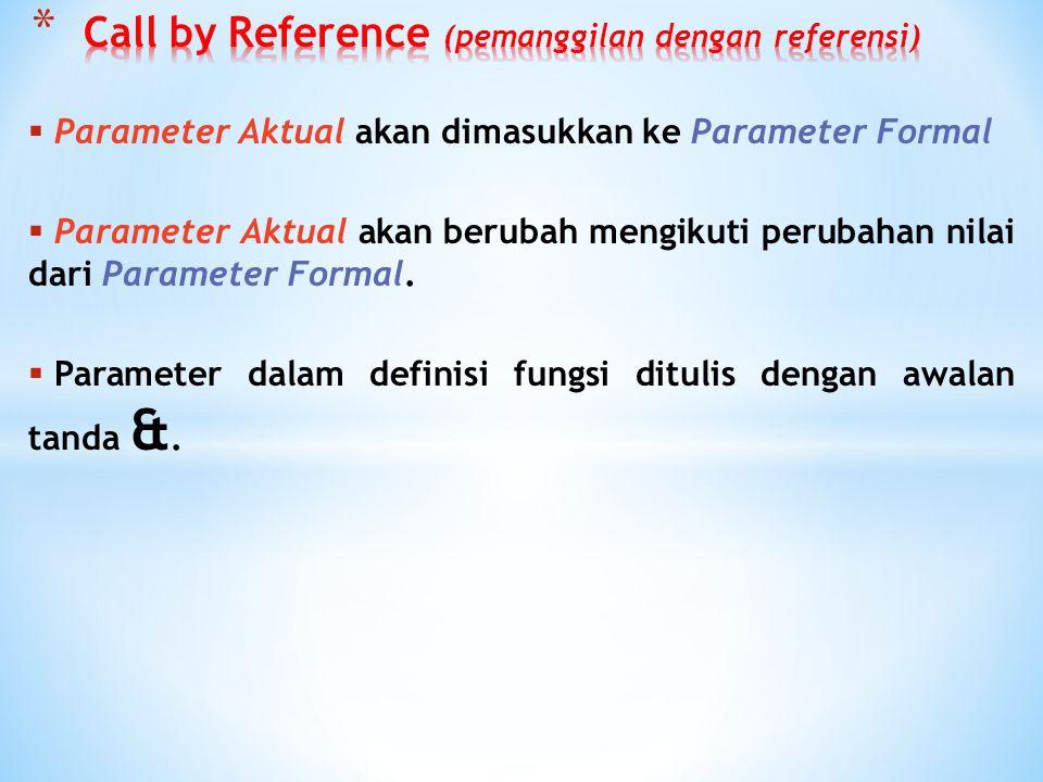 Call by Reference (pemanggilan dengan referensi)
