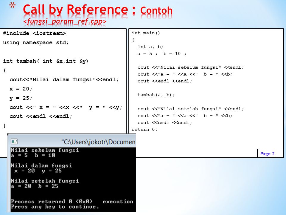 Call by Reference : Contoh <fungsi_param_ref.cpp>