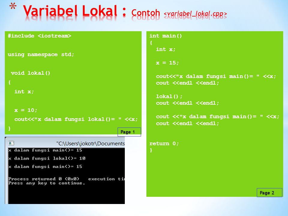 Variabel Lokal : Contoh <variabel_lokal.cpp>