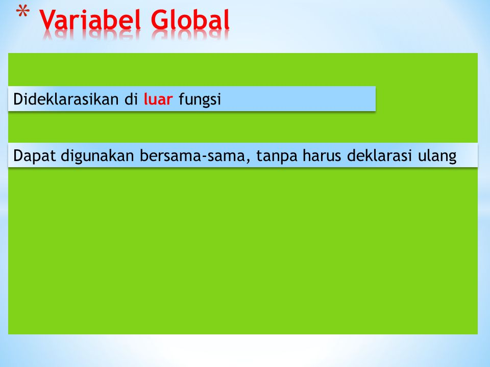 Variabel Global Dideklarasikan di luar fungsi