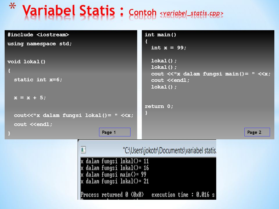 Variabel Statis : Contoh <variabel_statis.cpp>