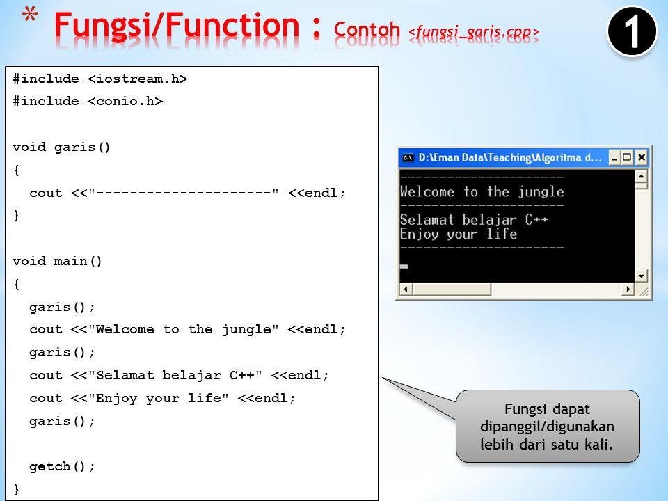 Fungsi/Function : Contoh <fungsi_garis.cpp>