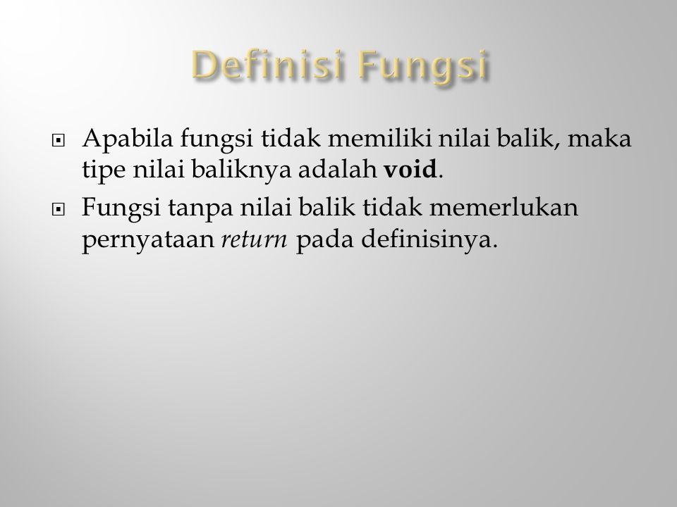 Definisi Fungsi Apabila fungsi tidak memiliki nilai balik, maka tipe nilai baliknya adalah void.