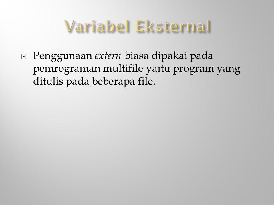 Variabel Eksternal Penggunaan extern biasa dipakai pada pemrograman multifile yaitu program yang ditulis pada beberapa file.
