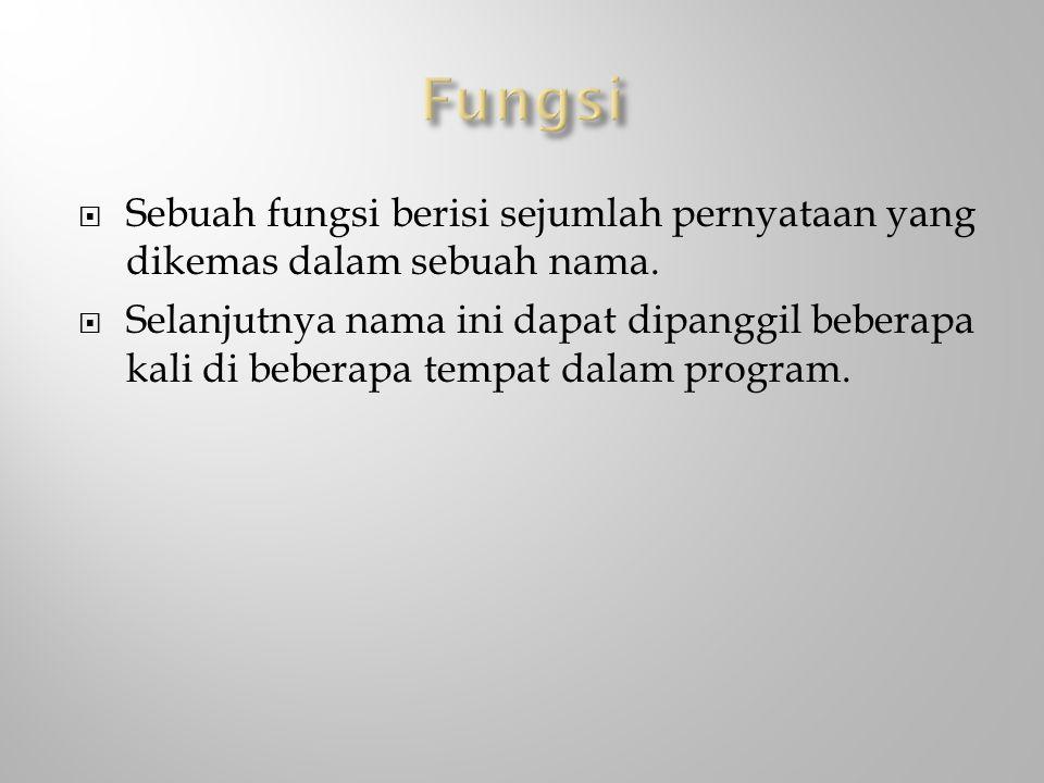 Fungsi Sebuah fungsi berisi sejumlah pernyataan yang dikemas dalam sebuah nama.