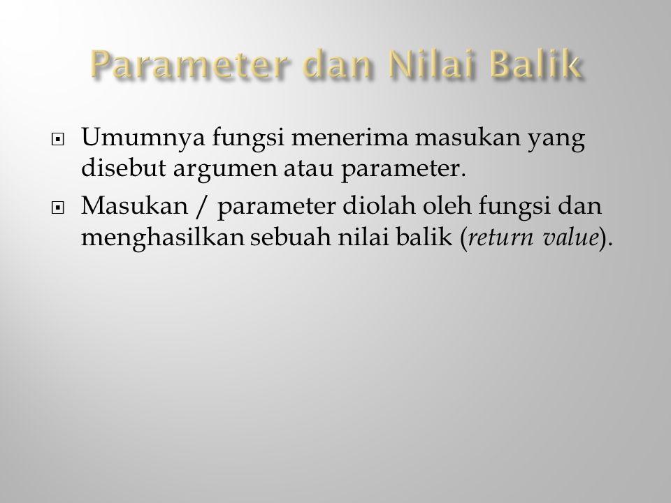 Parameter dan Nilai Balik