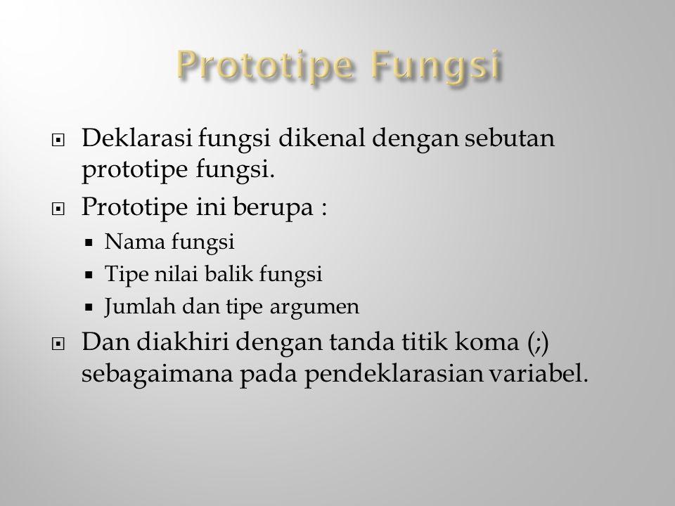 Prototipe Fungsi Deklarasi fungsi dikenal dengan sebutan prototipe fungsi. Prototipe ini berupa : Nama fungsi.