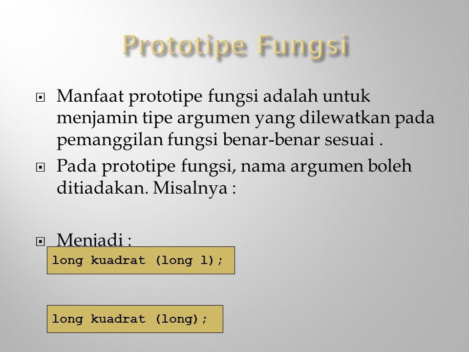 Prototipe Fungsi Manfaat prototipe fungsi adalah untuk menjamin tipe argumen yang dilewatkan pada pemanggilan fungsi benar-benar sesuai .