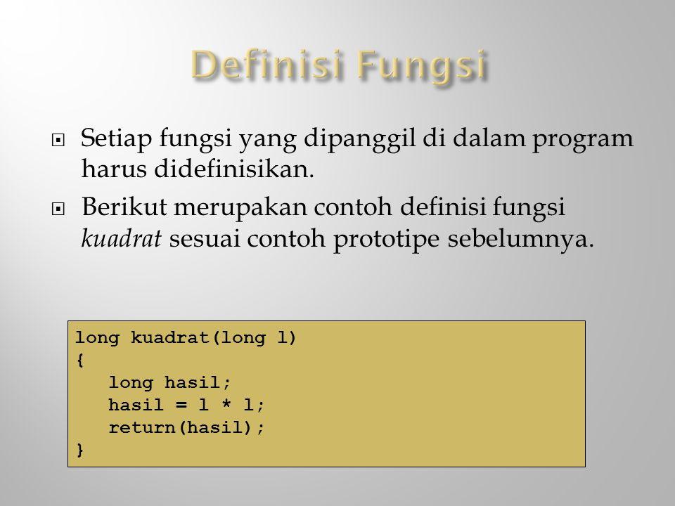 Definisi Fungsi Setiap fungsi yang dipanggil di dalam program harus didefinisikan.