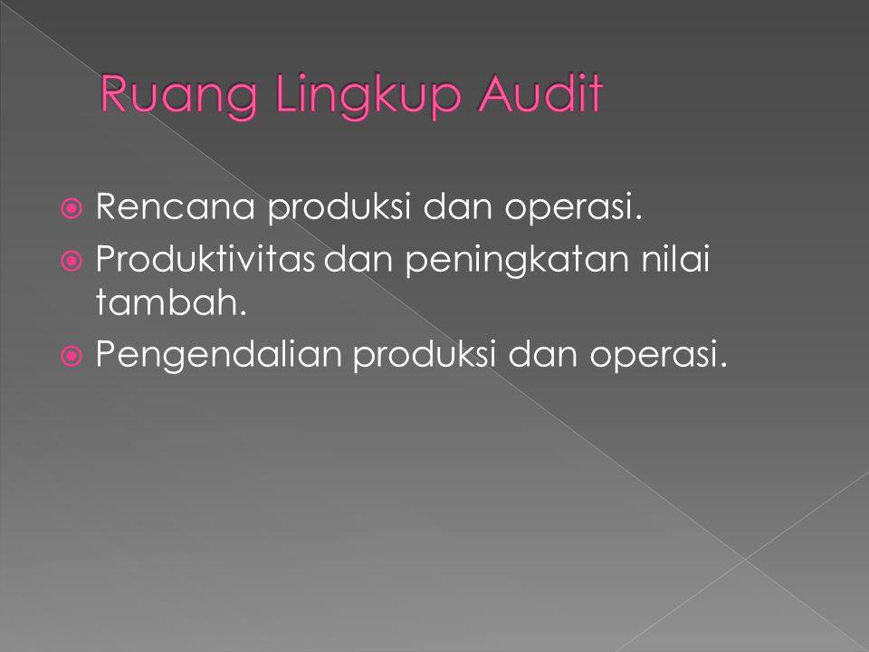 Ruang Lingkup Audit Rencana produksi dan operasi.